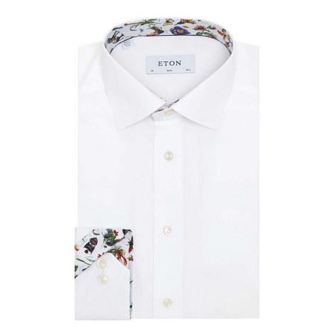 Floral Trim Collar Poplin Shirt, ${color}