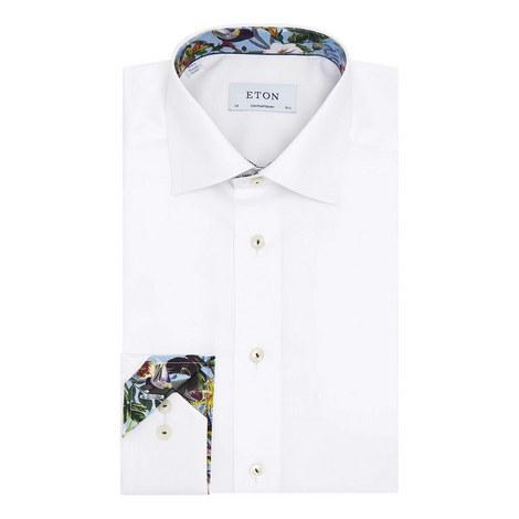 Twill Floral Trim Shirt, ${color}