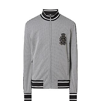 Houndstooth Zip Sweatshirt