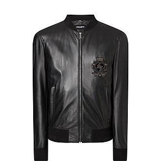 Crest Leather Bomber Jacket