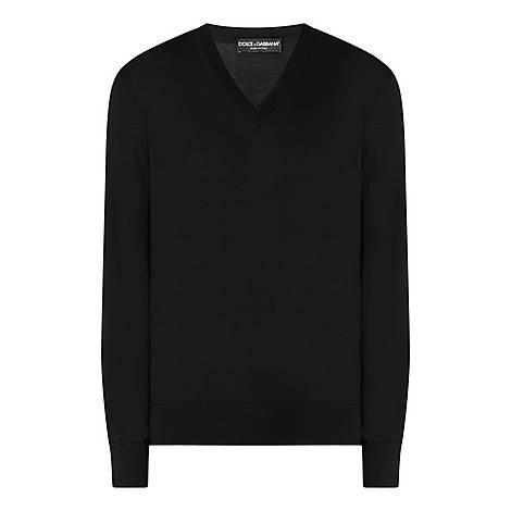 Plain V-Neck Sweater, ${color}