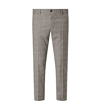Check Pattern Wool Slim Trousers