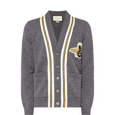 Bee Appliqué Wool Cardigan