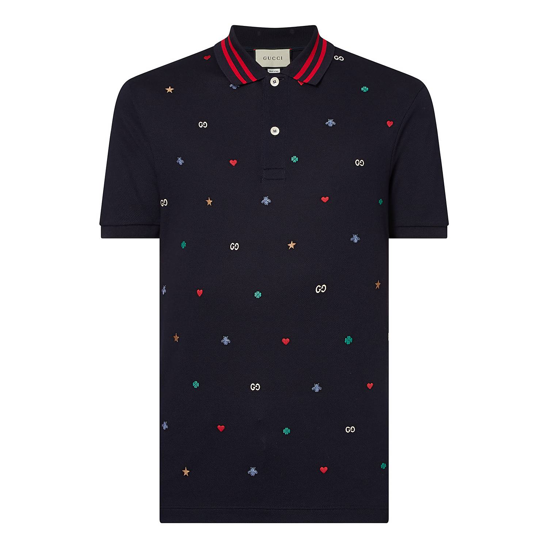 49dadbdff ... GG Logo Embroidered Polo Shirt, ${color}
