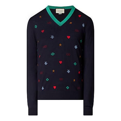 Icon Print V-Neck Sweater, ${color}