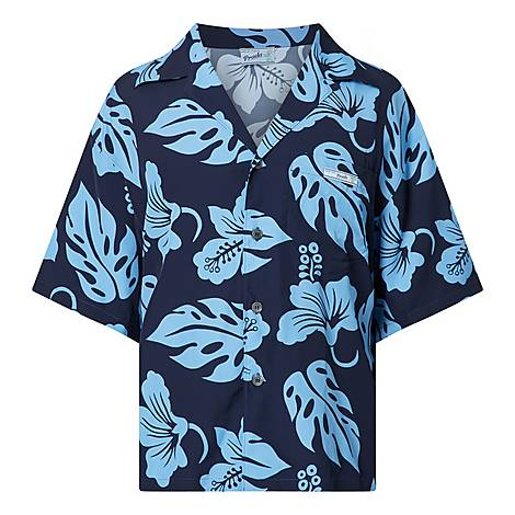 Hibiscus Print Bowling Shirt, ${color}