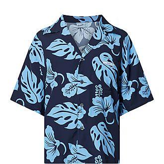 Hibiscus Print Bowling Shirt