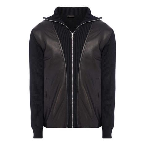 Leather Knit Jacket, ${color}