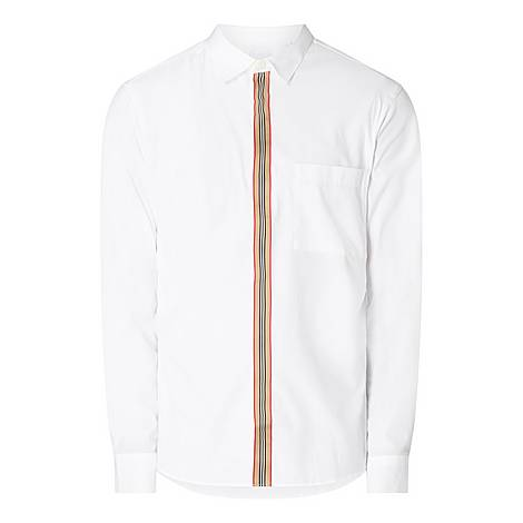 Striped Placket Slim Fit Shirt, ${color}