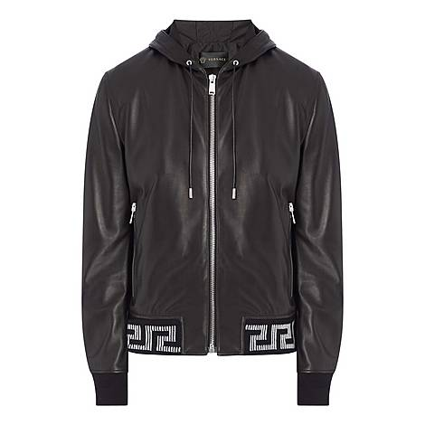 Hooded Leather Jacket, ${color}