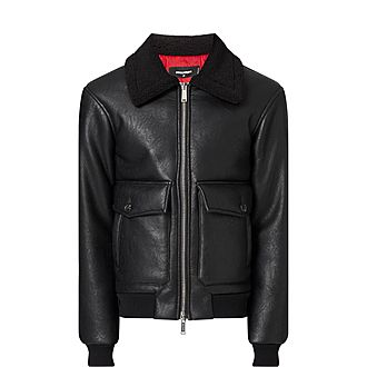 Faux-Leather Shearling Jacket