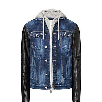 Hooded Denim Leather Jacket