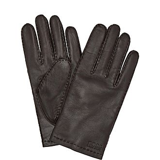 Logo Leather Gloves