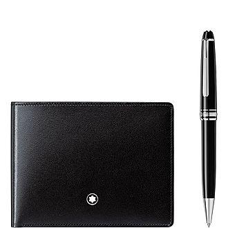 Meisterstück Platinum Classique Ballpoint Pen & Wallet 6cc Gift Set