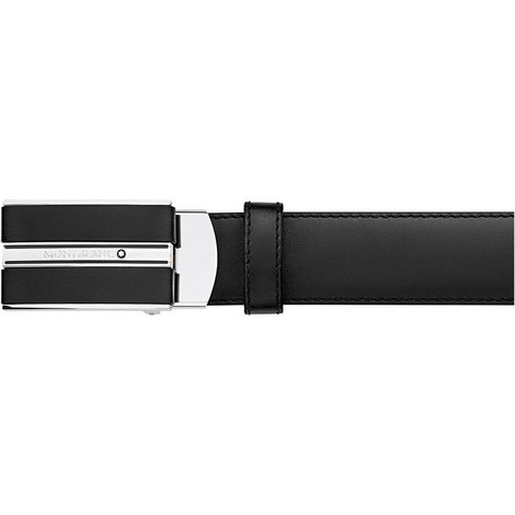 Rectangular Leather & Shiny Plate Buckle Belt with Sliding Mechanism, ${color}