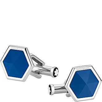 Hexagonal Faceted Agate Cufflinks