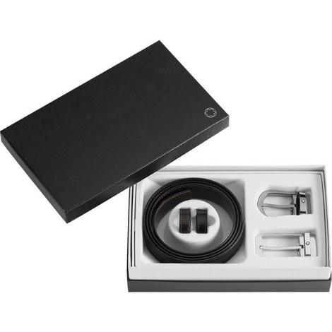 Rectangular & Rounded Buckle Reversible Belt Gift Set, ${color}
