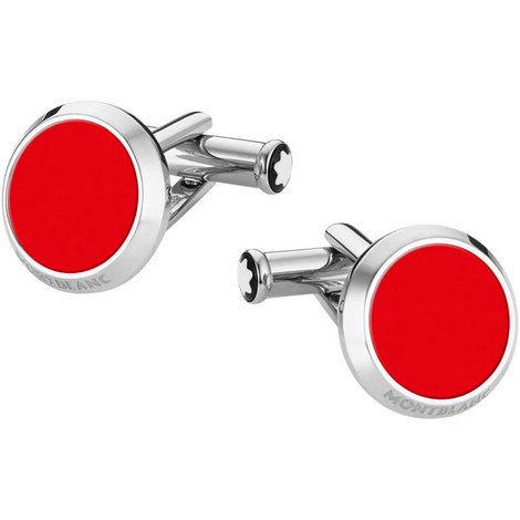 Red Inlay Stainless Steel Cufflinks, ${color}