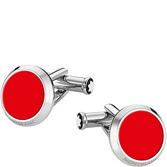 Red Inlay Stainless Steel Cufflinks