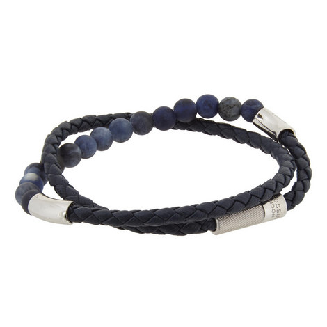 Double Wrap Bead and Leather Bracelet, ${color}
