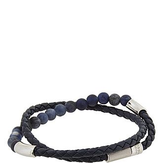Double Wrap Bead and Leather Bracelet