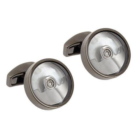 Round Gunmetal Cufflinks, ${color}