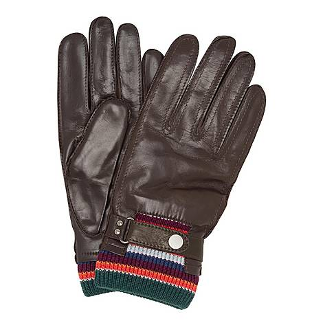 Striped Cuff Leather Gloves, ${color}