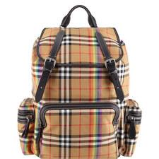 Large Rainbow Vintage Check Backpack