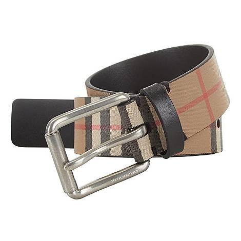 Vintage Check Leather Belt, ${color}