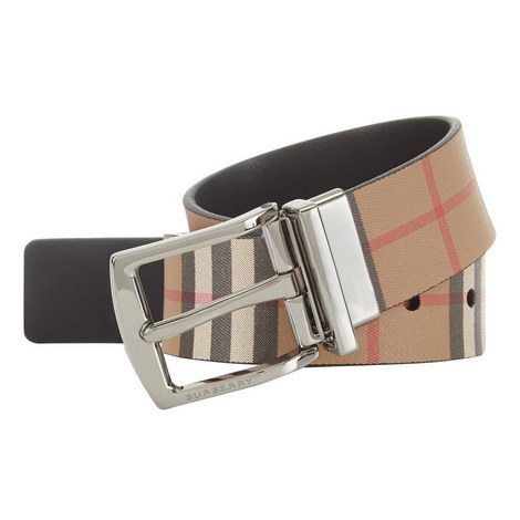 Vintage Check Leather Reversible Belt, ${color}