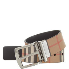 Vintage Check Leather Reversible Belt
