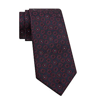 Dotted Floral Print Tie
