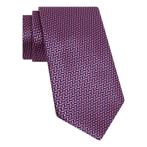 Woven Geometric Textured Silk Tie, ${color}