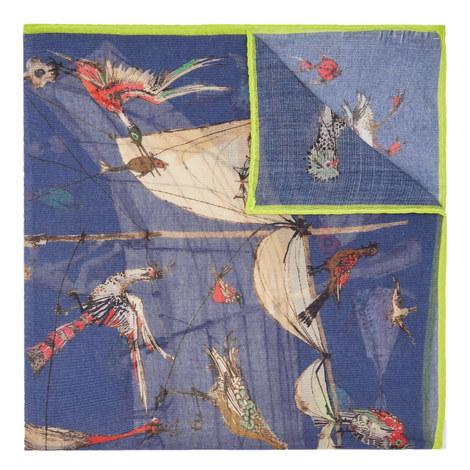Tropical Bird Print Pocket Square, ${color}