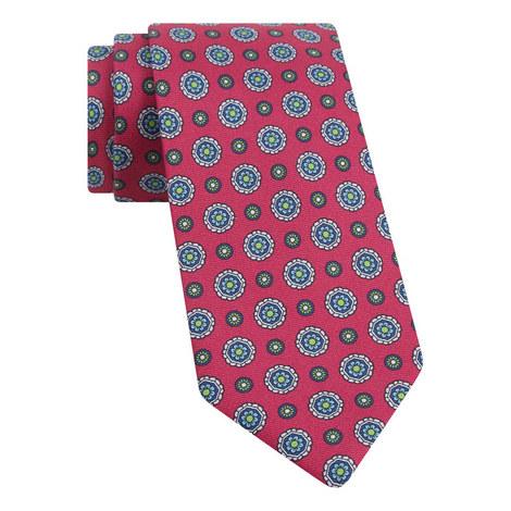 Geometric Flower Print Tie, ${color}