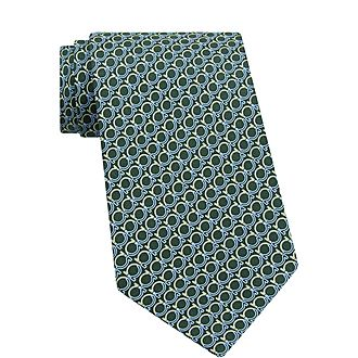 Gancini Print Silk Tie