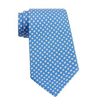 Rugby Print Silk Tie
