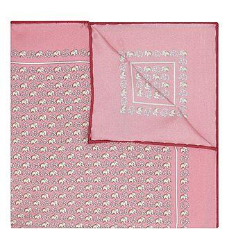 Elephant Print Silk Pocket Square