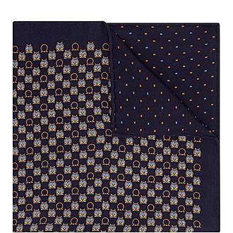 Owl and Gancio Print Silk Pocket Square