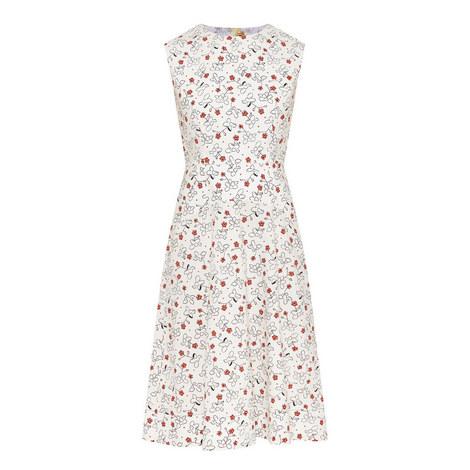 Floral Print Poplin Dress, ${color}