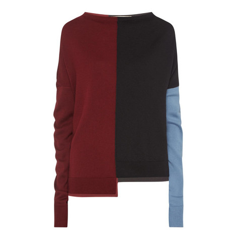 Long Sleeve Colour-Block Sweater, ${color}