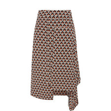 Asymmetric Print Skirt