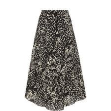 Print Crepe Midi Skirt