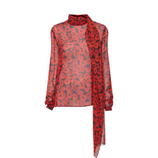 Poppy Print Silk Blouse