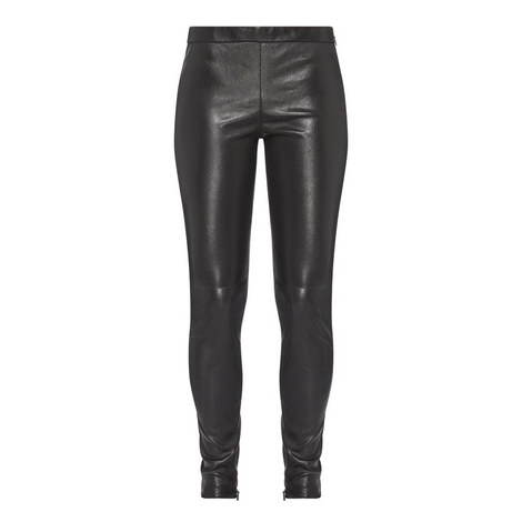 Skinny Fit Leather Trousers, ${color}