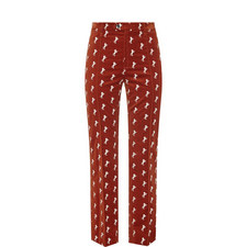 Horse Embroidered Velvet Trousers