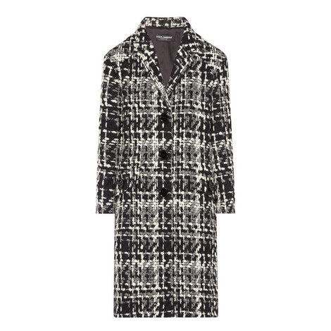 Relaxed Fit Tweed Coat, ${color}