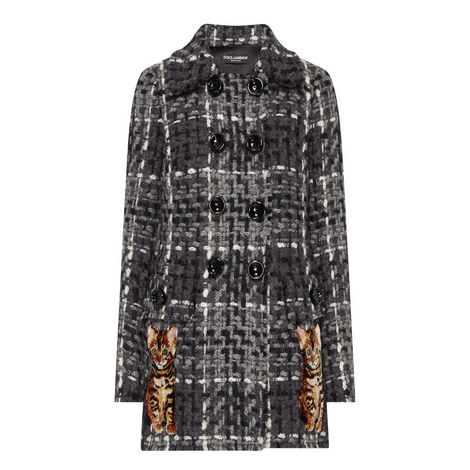 Cat Appliqué Tweed Coat, ${color}