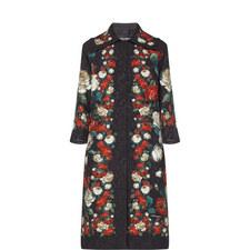 Long Floral Print Coat