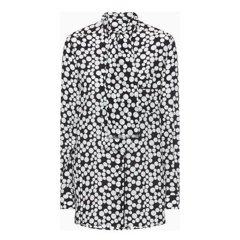 Spot Print Silk Blouse, ${color}